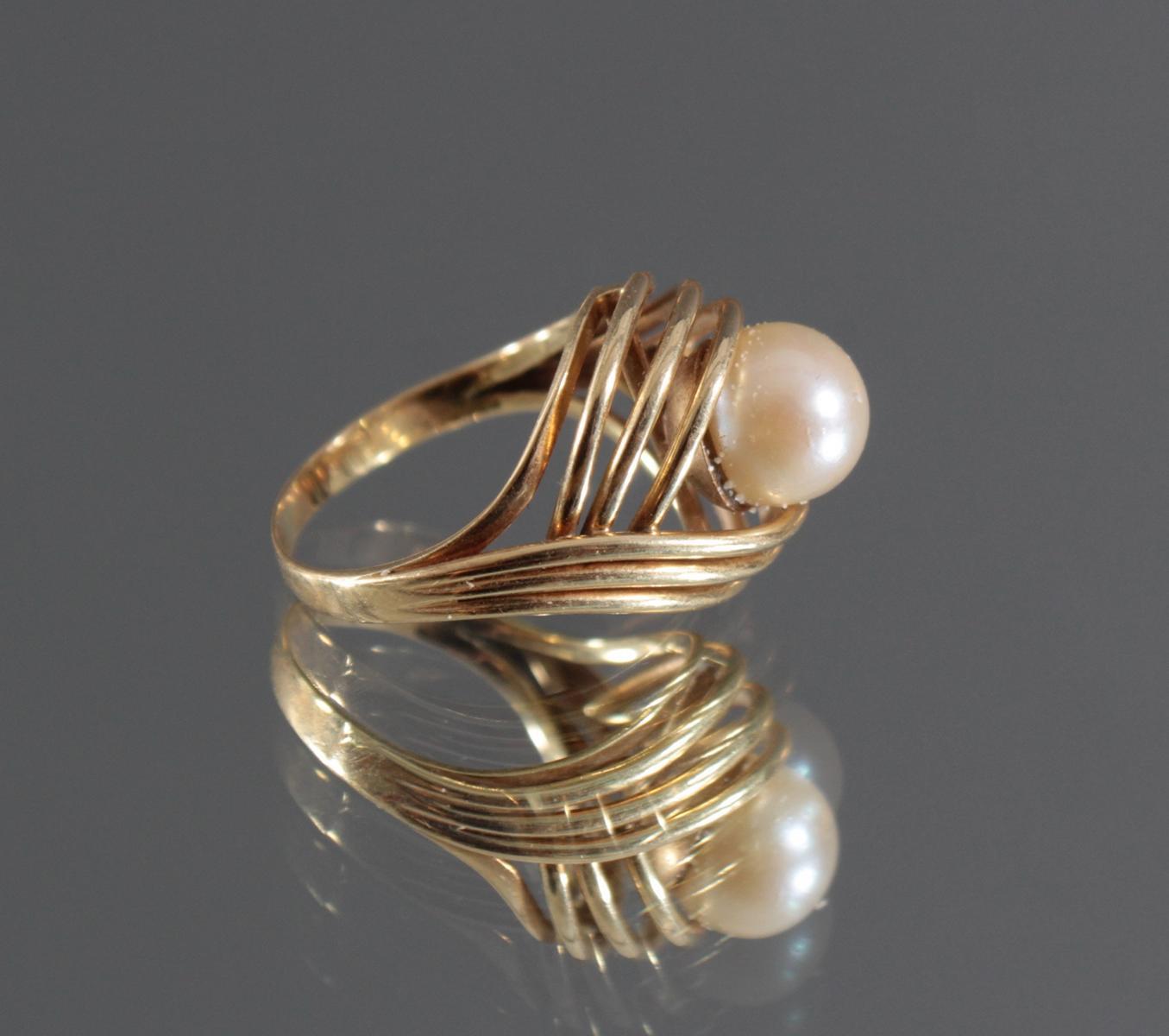 Damenring mit Perle, 14 Karat Gelbgold-2