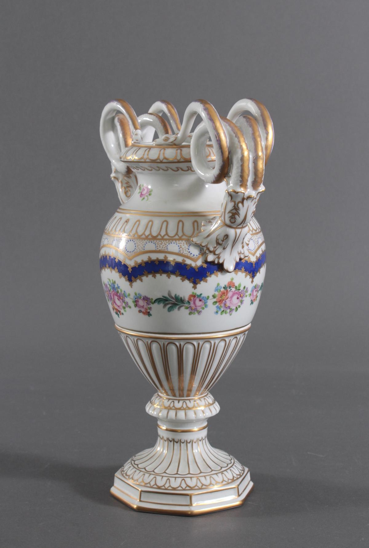 Prunkvolle Potschappel Dresdner Schlangenhenkel-Vase-2