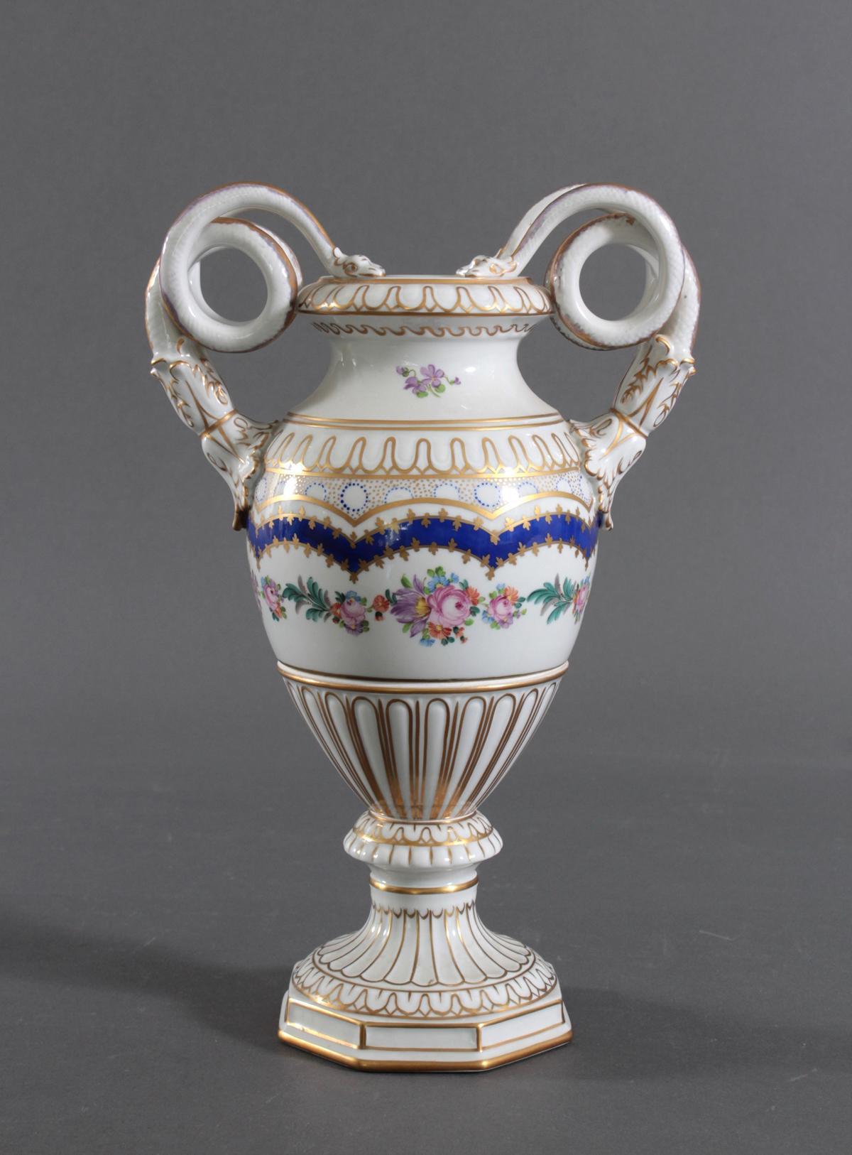 Prunkvolle Potschappel Dresdner Schlangenhenkel-Vase-3