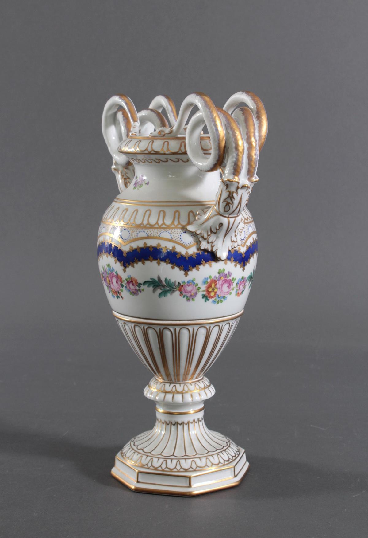 Prunkvolle Potschappel Dresdner Schlangenhenkel-Vase-4