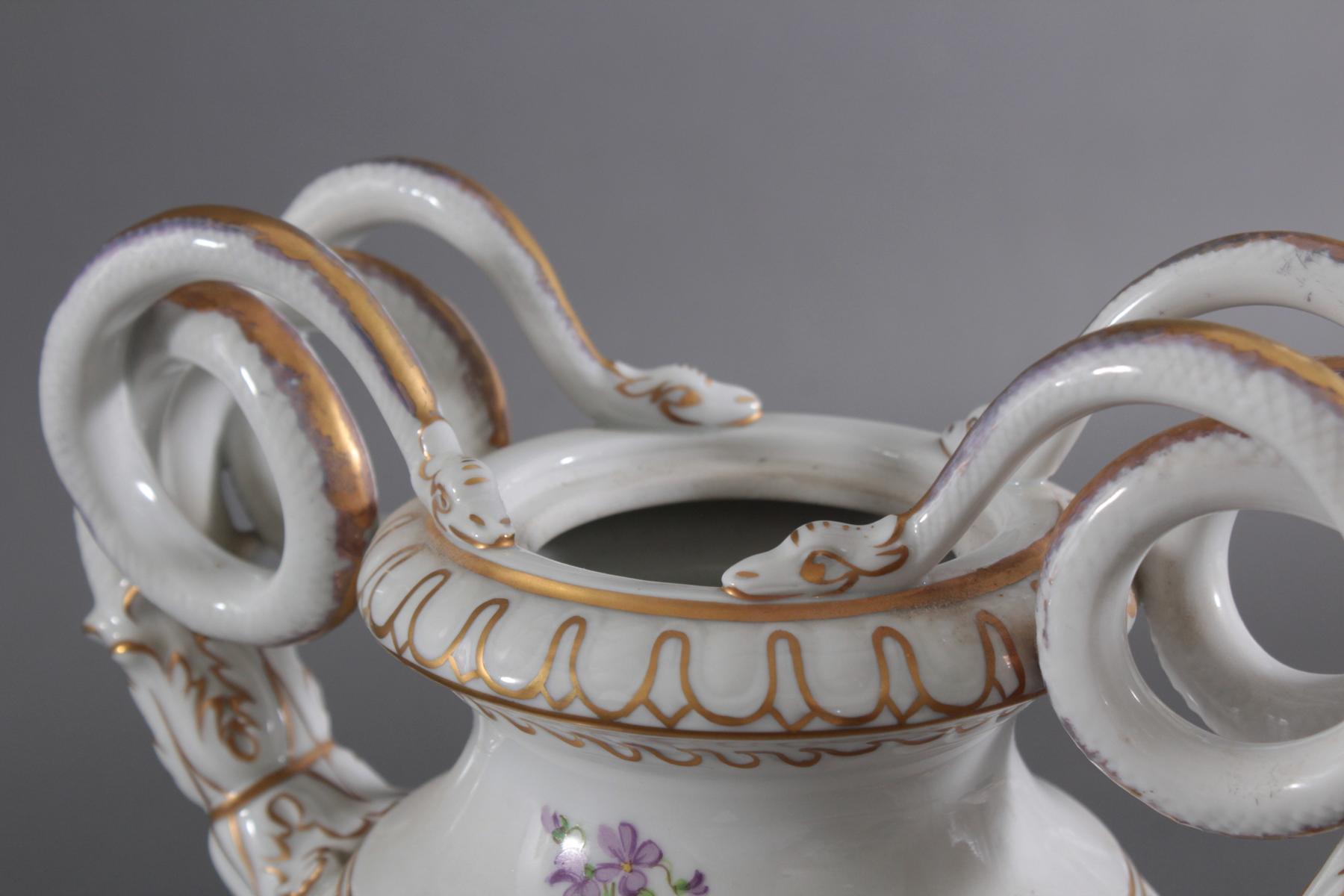 Prunkvolle Potschappel Dresdner Schlangenhenkel-Vase-5