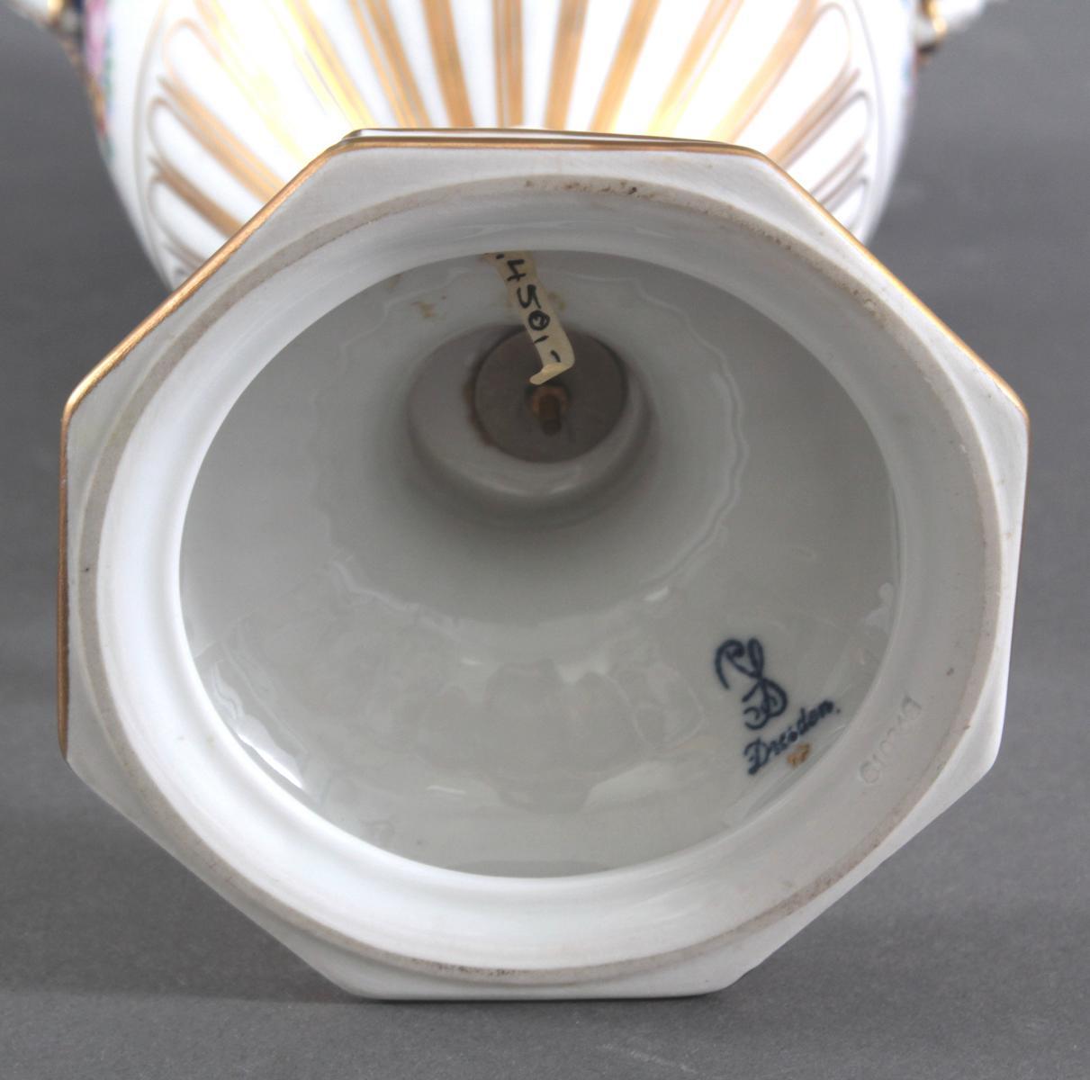 Prunkvolle Potschappel Dresdner Schlangenhenkel-Vase-6