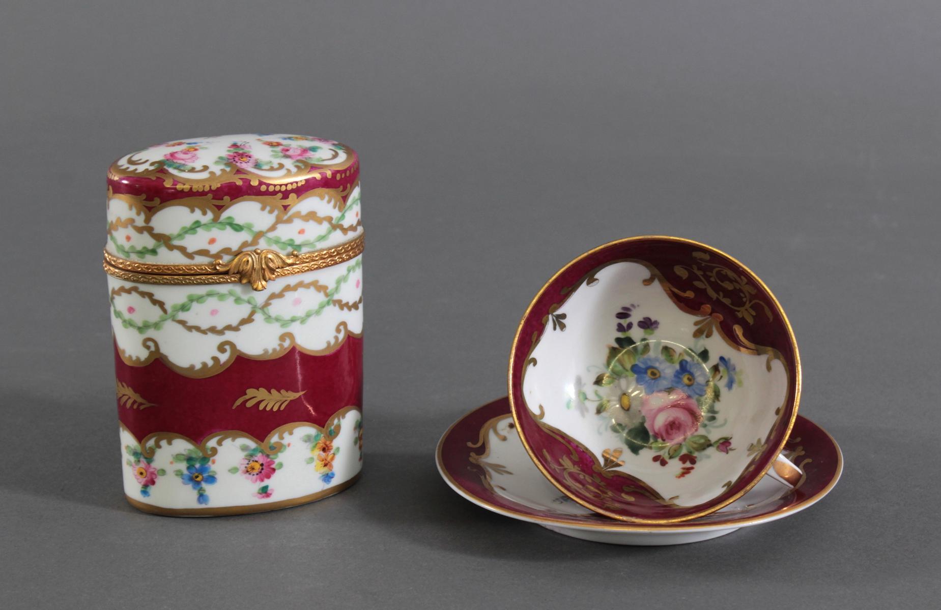 Drei Teile Porzellan, vermutlich Paris, Edmé Samson, Ende 19. Jh.-2
