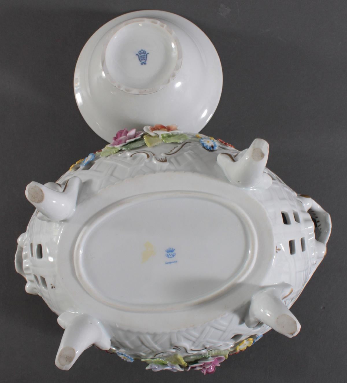 Große Porzellan Durchbruchschale und Potpourrie-Dose-6