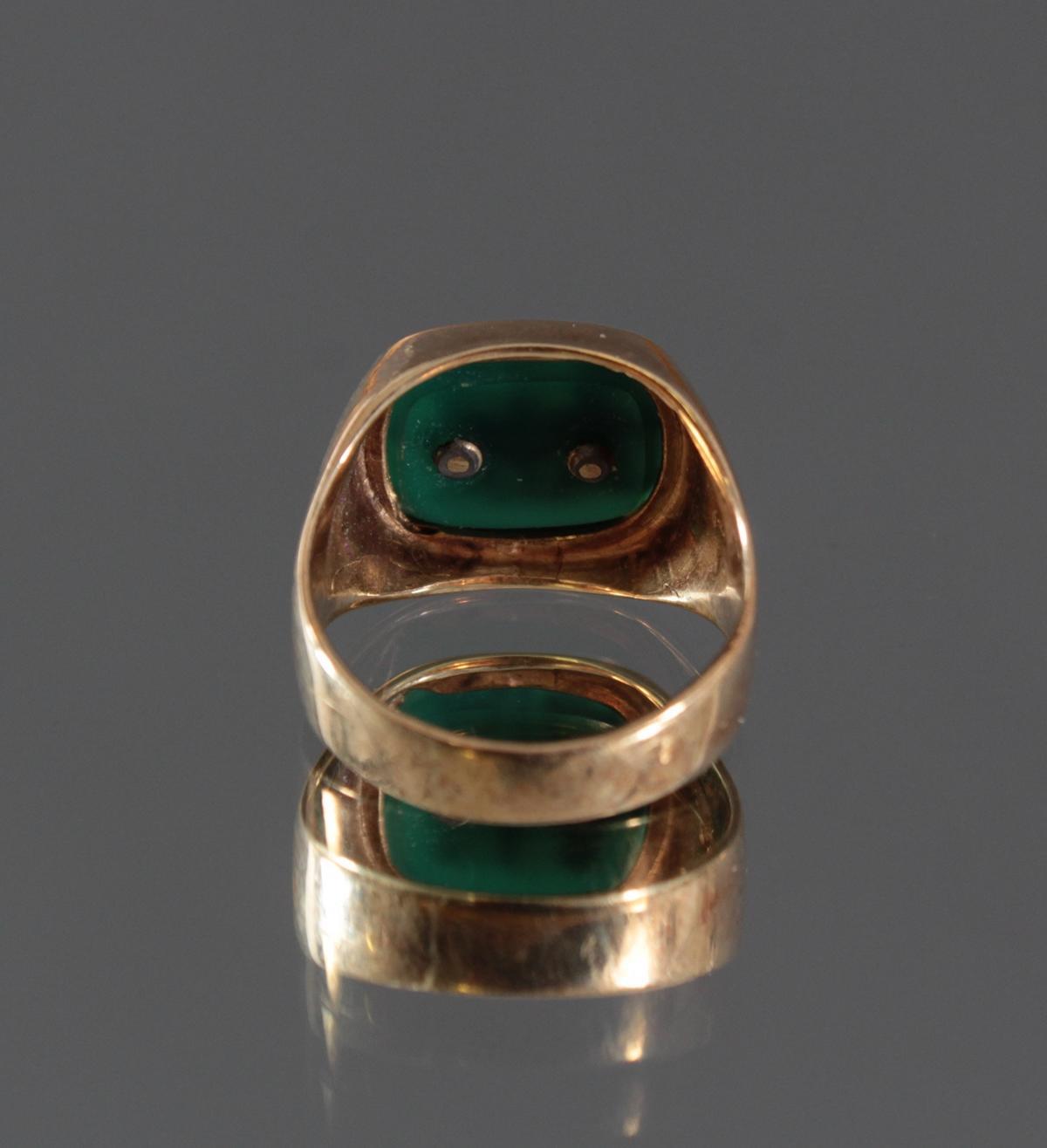Damenring mit grünem Lagestein, 14 Karat Gelbgold-3