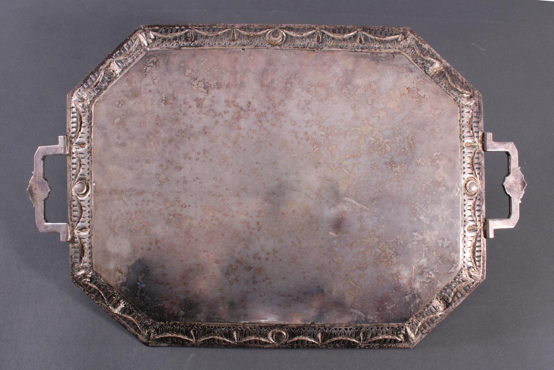 Silbernes Henkeltablett, im Empire-Stil. Friedrich Reusswig, Hanau (1903-1926)-4