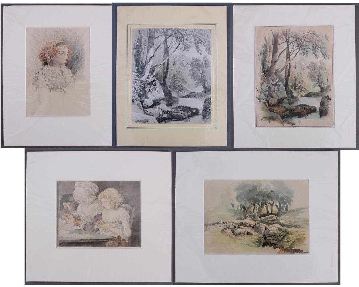 5 kolorierte Lithographien um 1833 / 1890