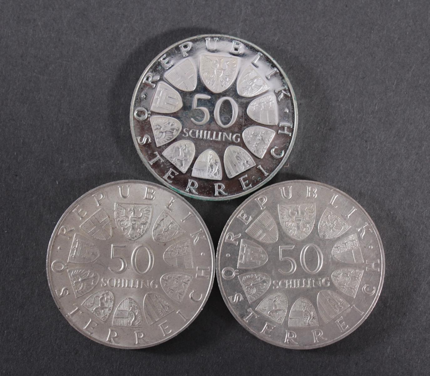 50 Schilling Silbermünzen – 3 Stück-2