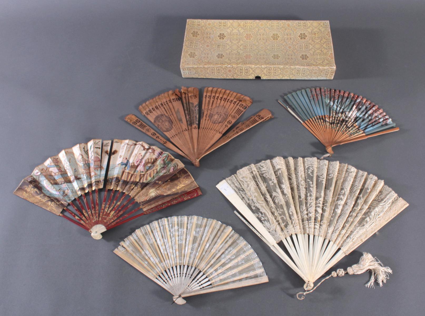 Fünf Fächer 18./19. Jahrhundert, Frankreich/Asien-13