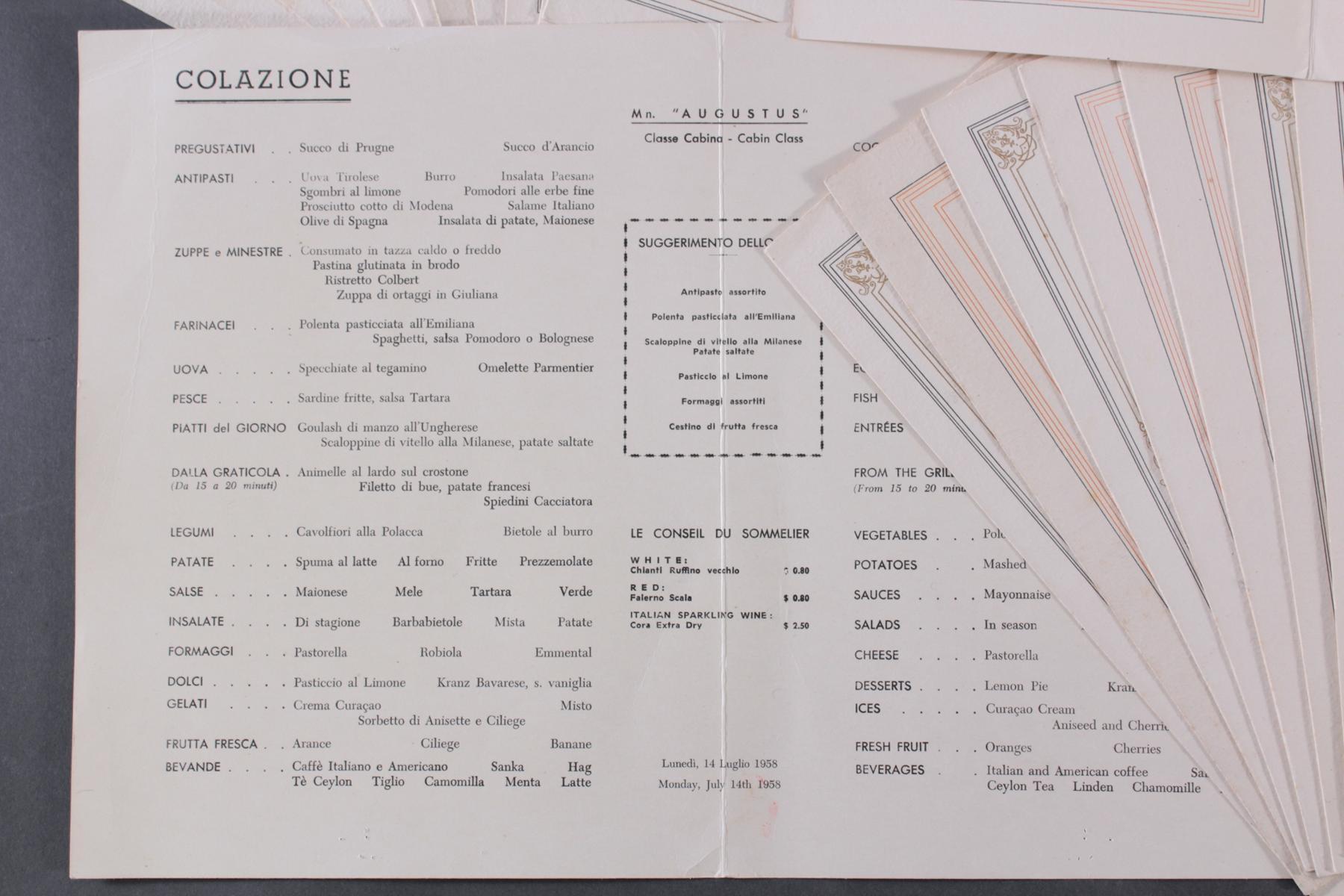 Speisekarten der MS St. Louis 1938 (Hamburg-Amerika-Linie)-4