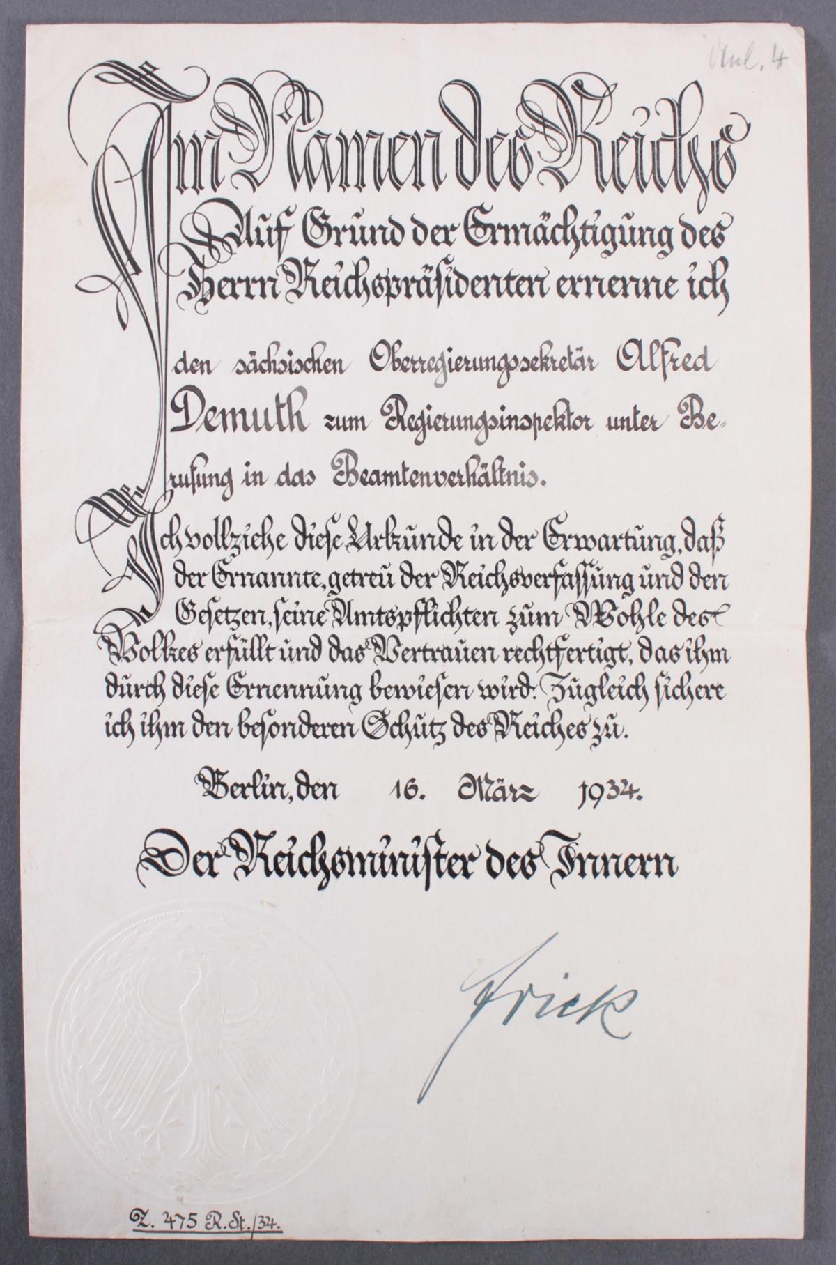 Urkunde mit Autograph Wilhelm Frick