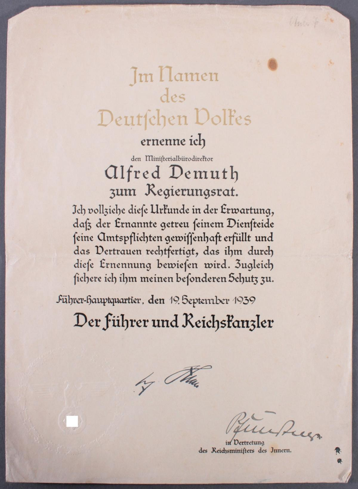 Urkunde mit Autograph Dr. Hans Pfundtner