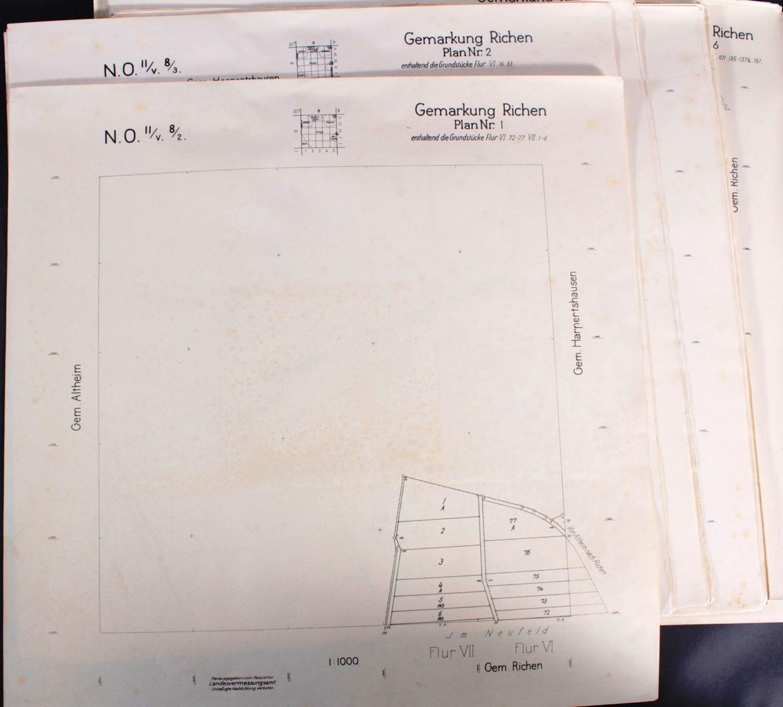 Schwarzdrucke der Grundstückspläne der Gemarkung Riechen-2