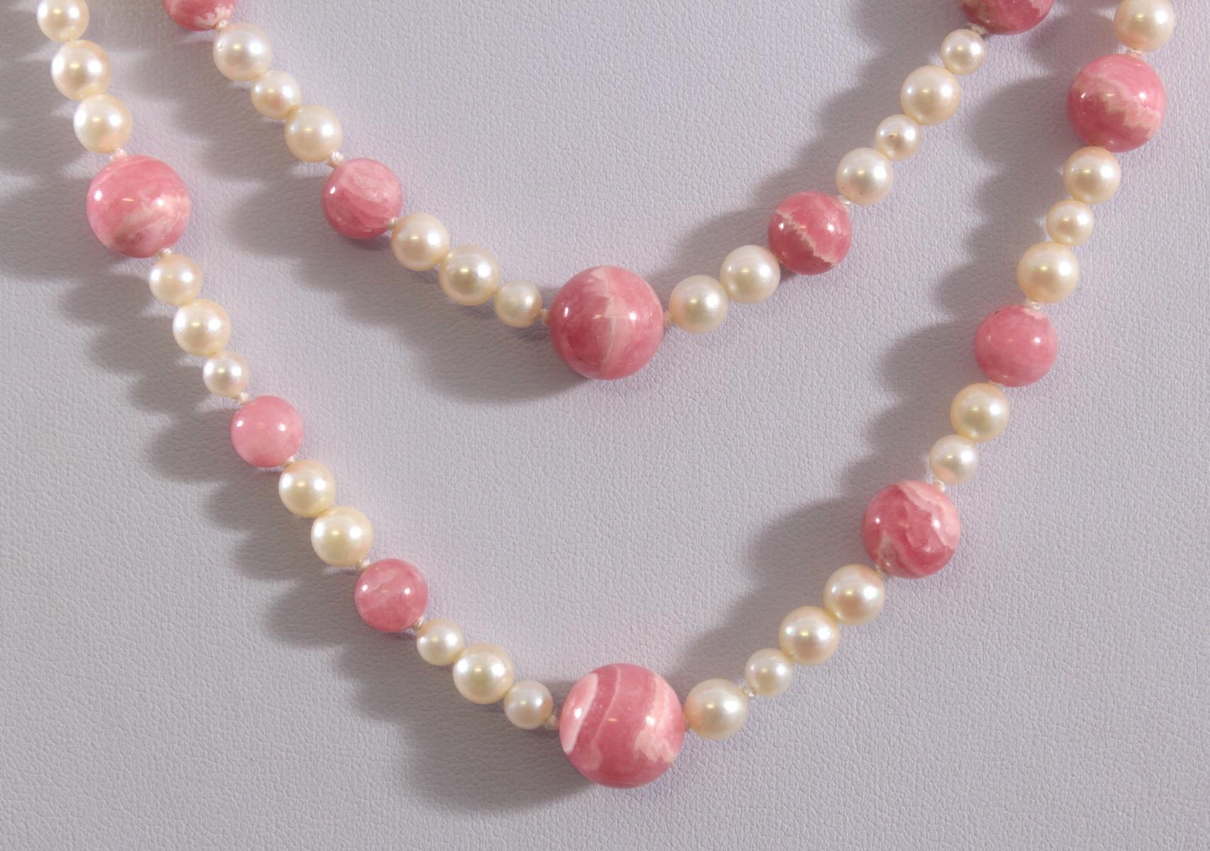 Halskette aus Perlen- und Rosenquarzkugeln mit Weißgoldschließe-2