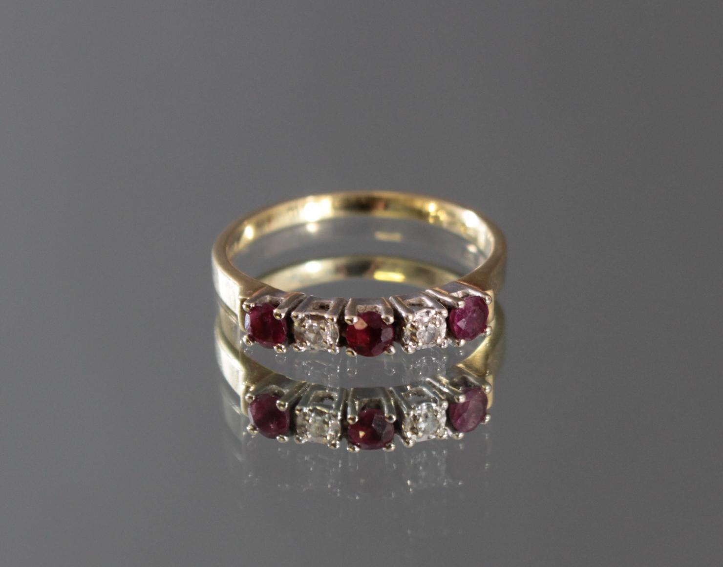 Damenring mit Rubinen und Diamanten, 14 Karat Gelbgold