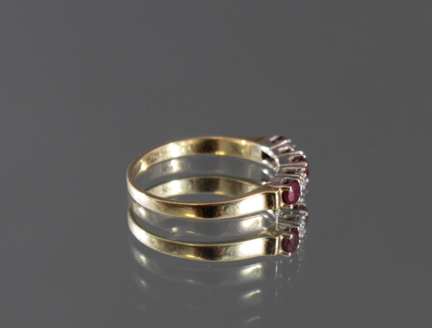 Damenring mit Rubinen und Diamanten, 14 Karat Gelbgold-2
