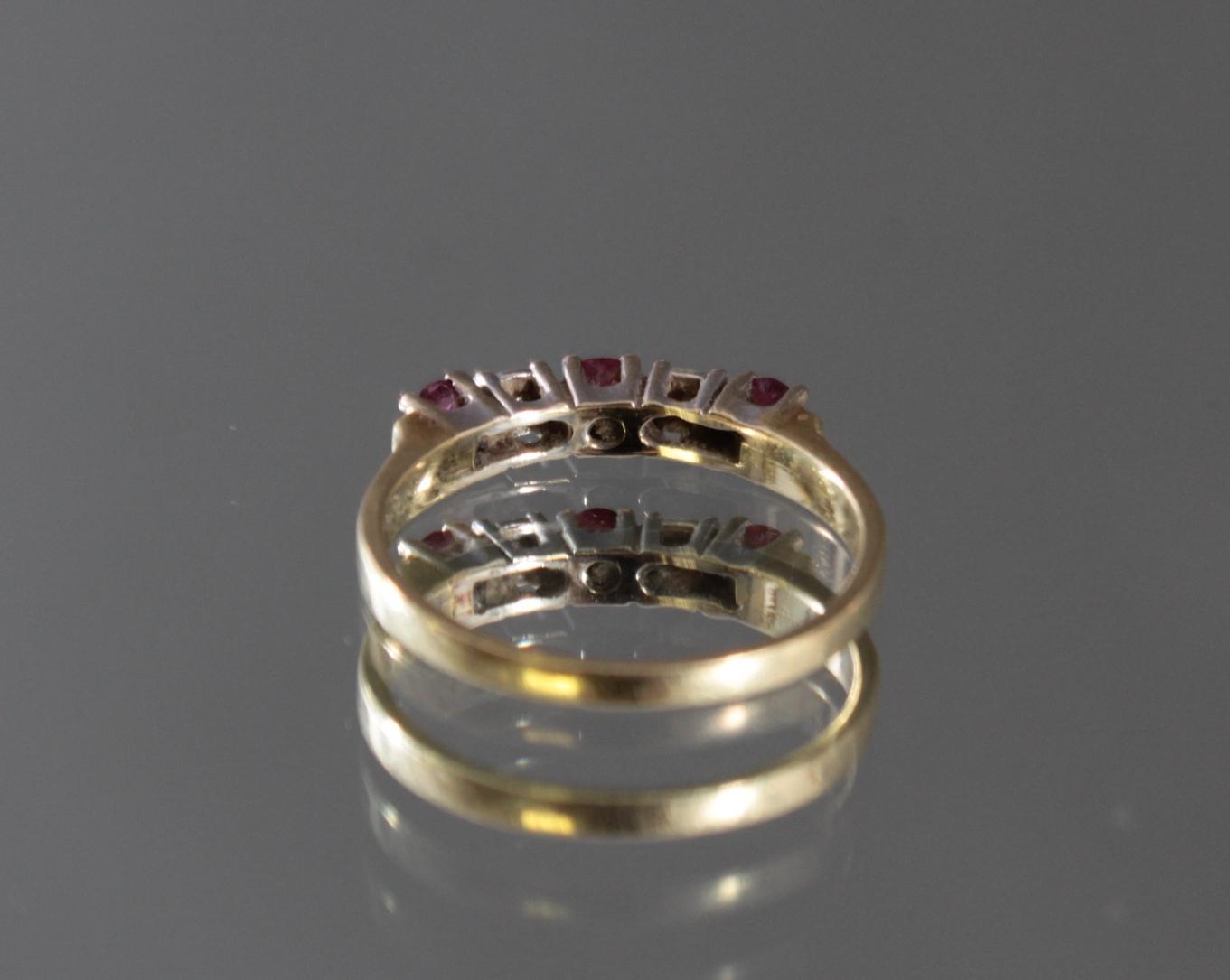 Damenring mit Rubinen und Diamanten, 14 Karat Gelbgold-3