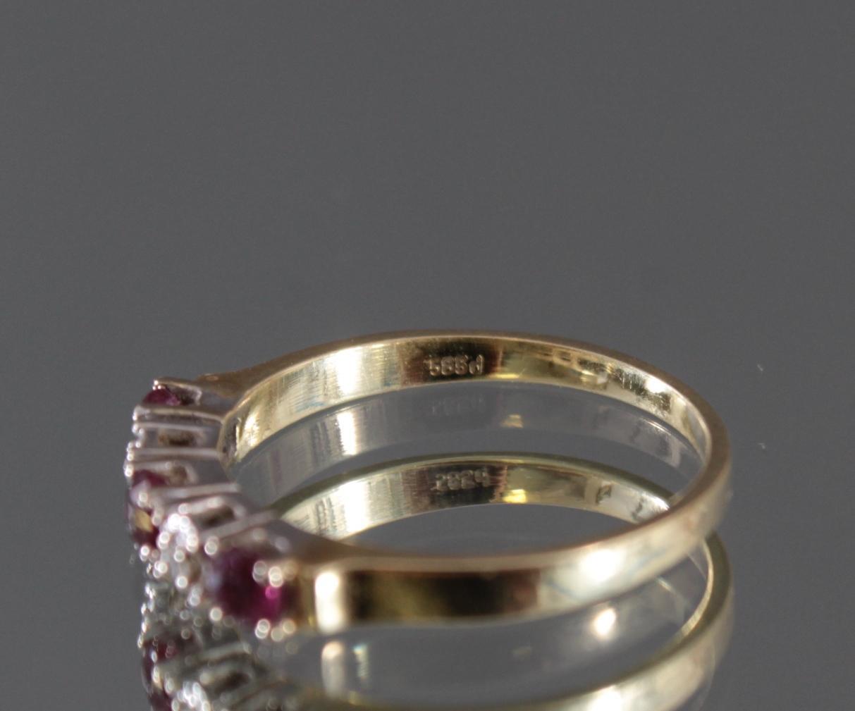 Damenring mit Rubinen und Diamanten, 14 Karat Gelbgold-4