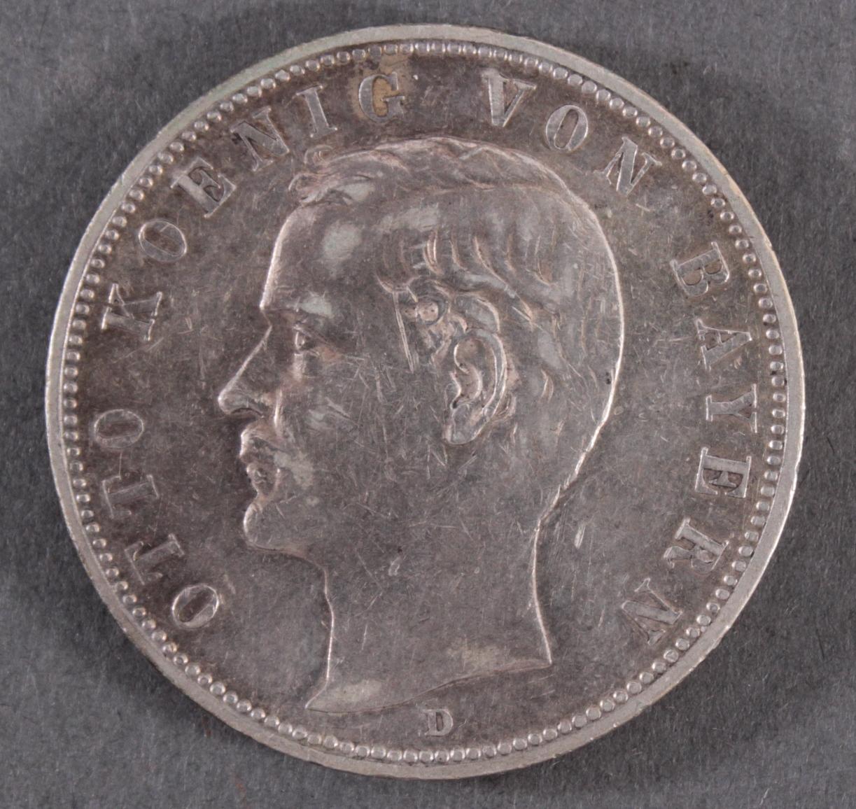5 Mark Kaiserreich Bayern König Otto 1904 D in vorzüglich