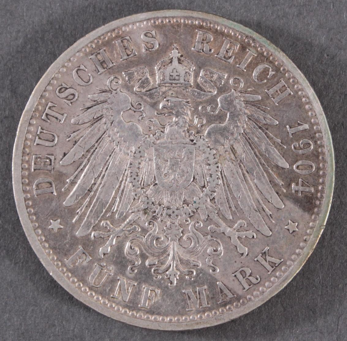 5 Mark Kaiserreich Bayern König Otto 1904 D in vorzüglich-2