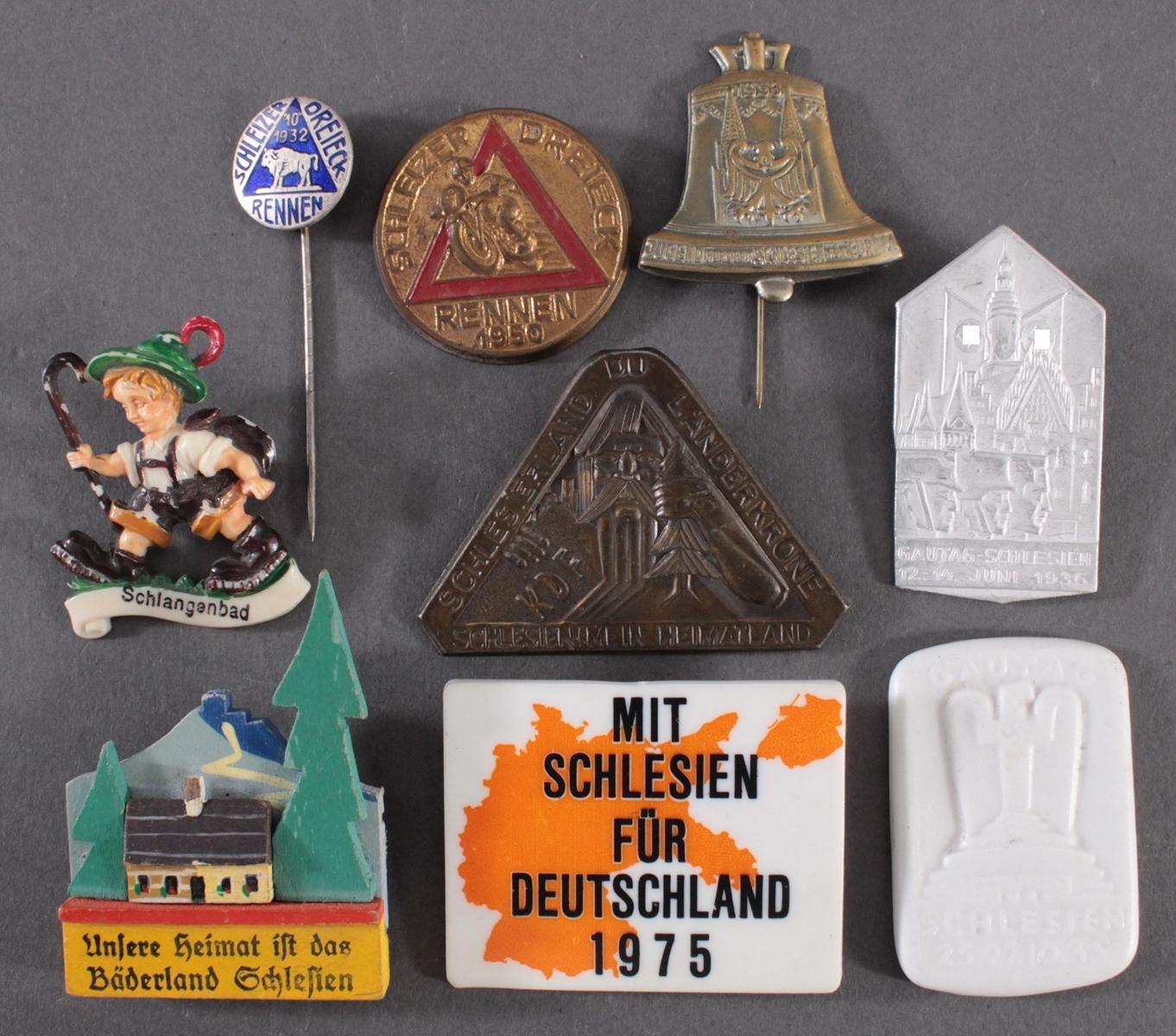Sammlung Abzeichen Schiffart und Schlesien, 9 Stück