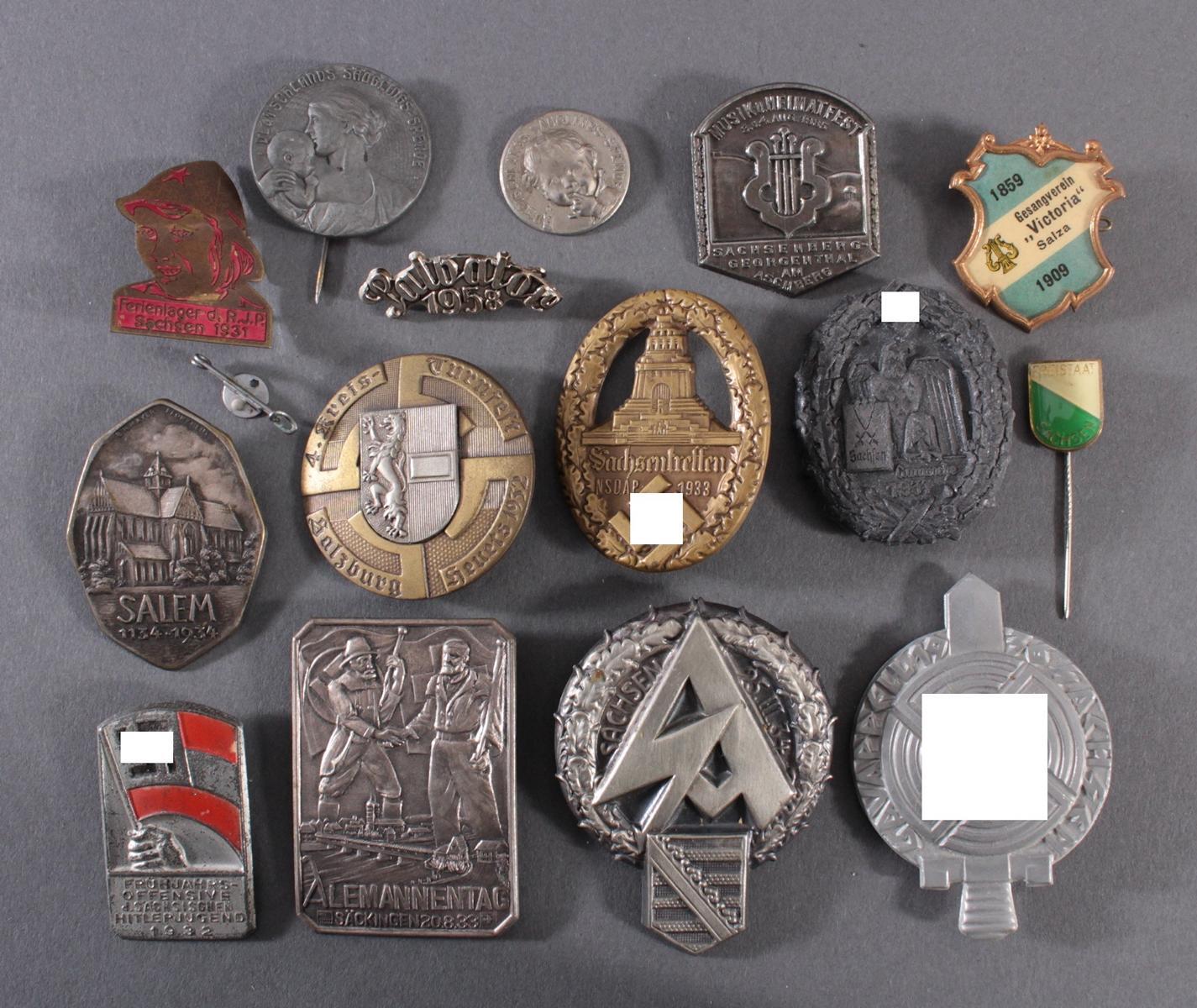 Sammlung Mitglieds- und Veranstaltungsabzeichen Sachsen Salzburg, 15 Stück