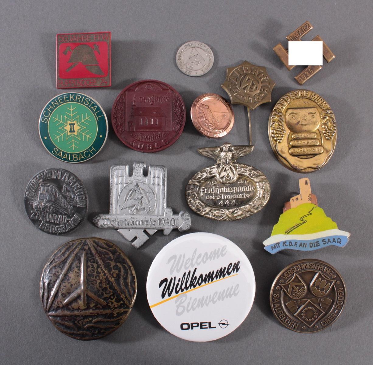 Sammlung Mitglieds- und Veranstaltungsabzeichen Rübeland Saar, 15 Stück