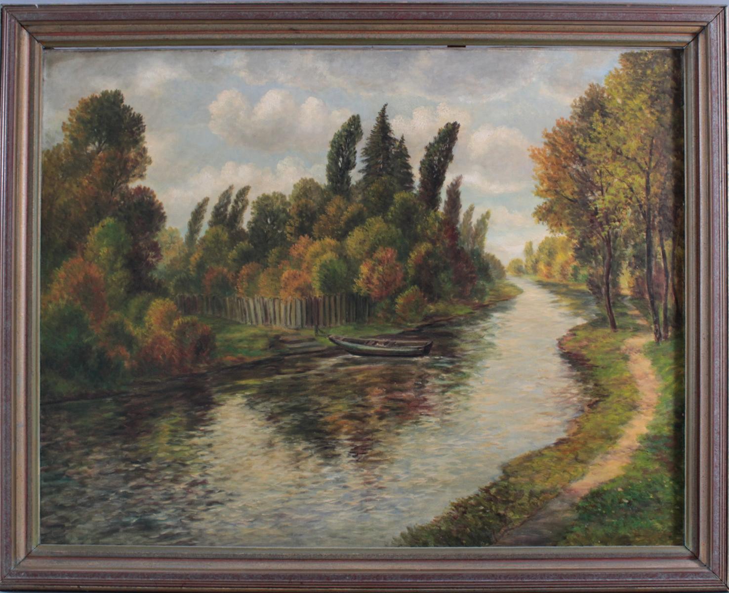 Sommerliche Flusslandschaft mit Boot