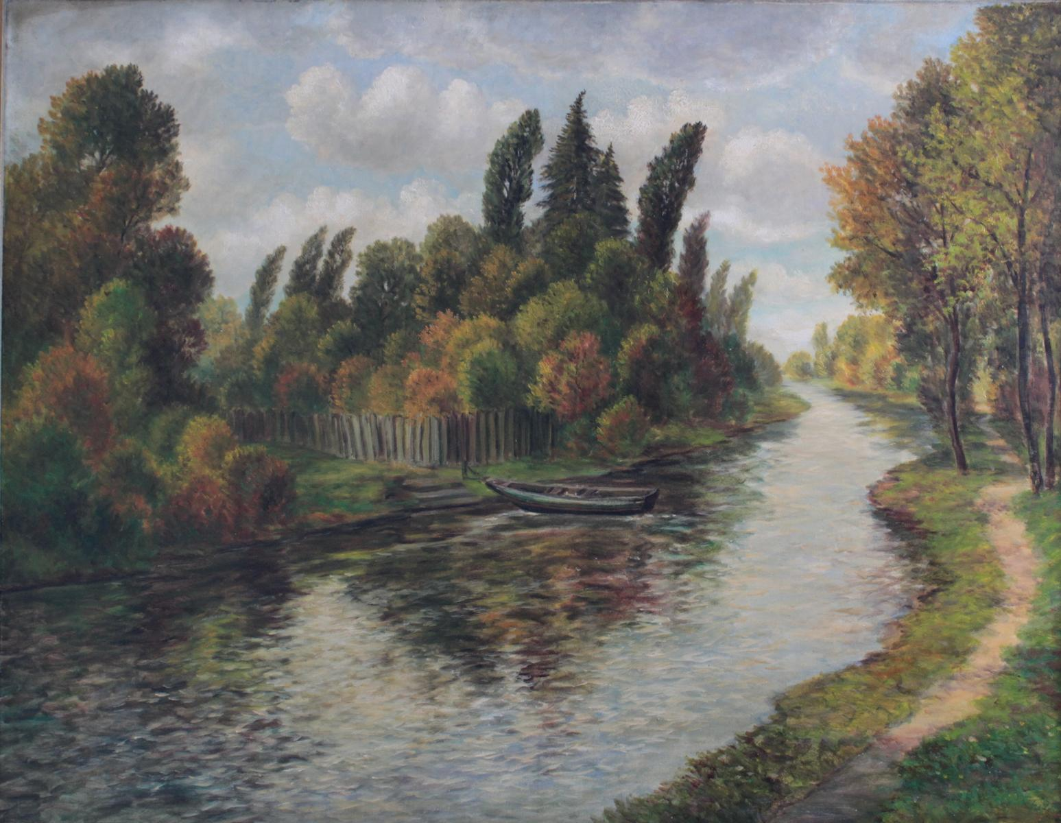 Sommerliche Flusslandschaft mit Boot-2