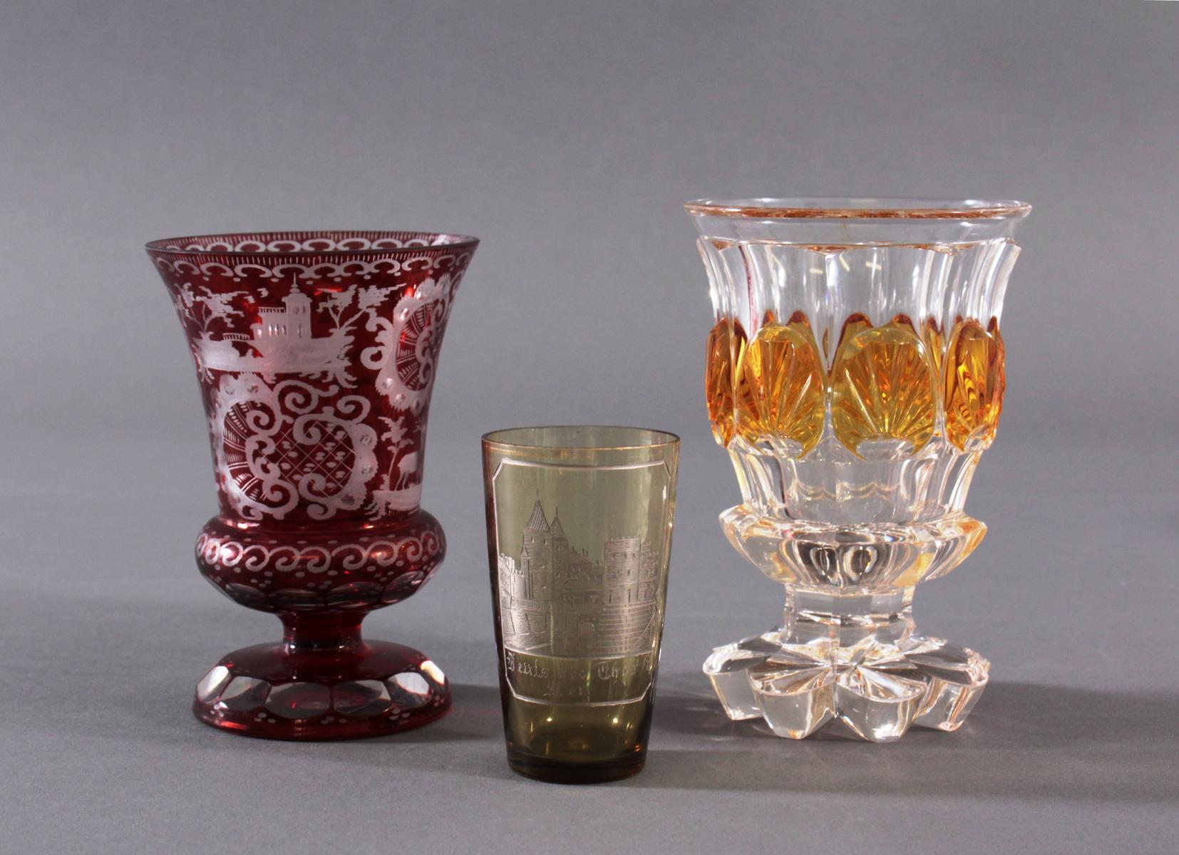 2 Pokalgläser und 1 Andenkenglas um 1900