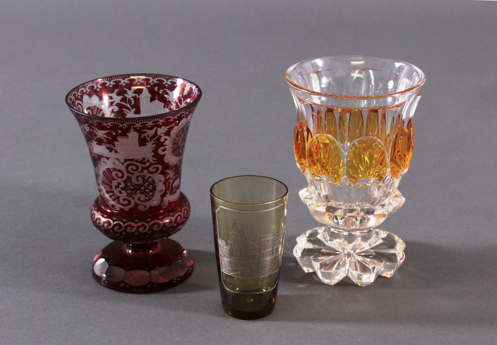 2 Pokalgläser und 1 Andenkenglas um 1900-2