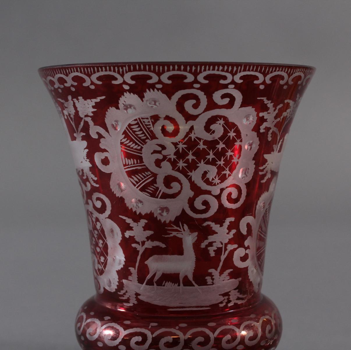 2 Pokalgläser und 1 Andenkenglas um 1900-4