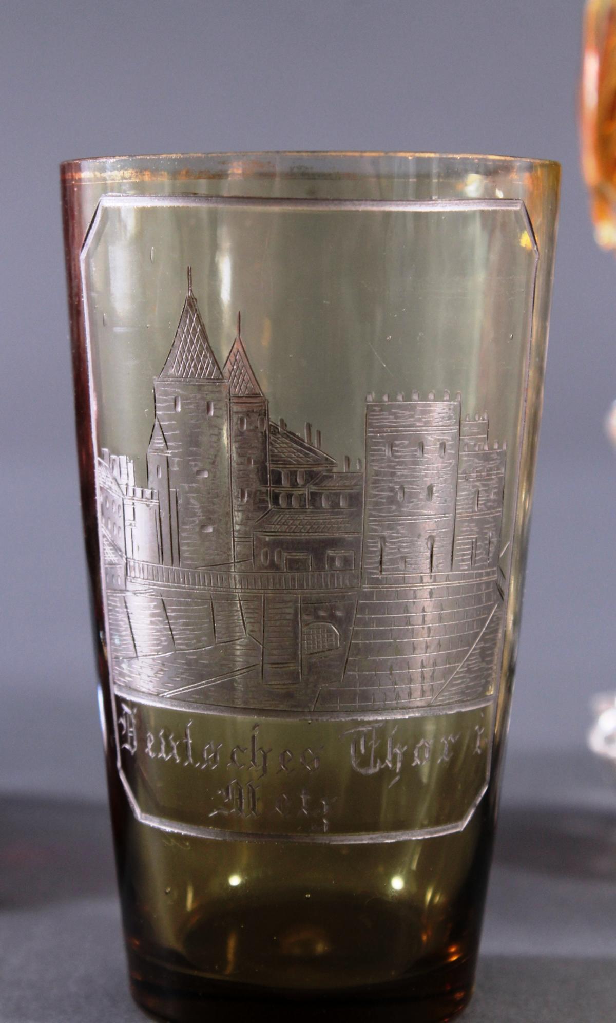 2 Pokalgläser und 1 Andenkenglas um 1900-5