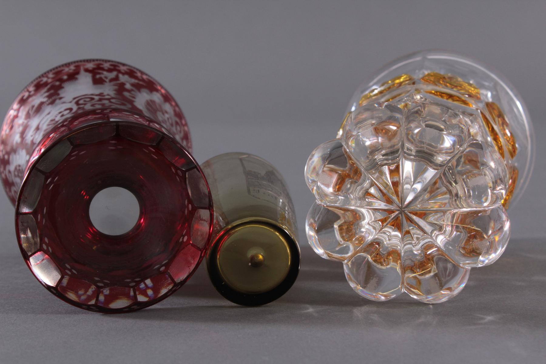 2 Pokalgläser und 1 Andenkenglas um 1900-6