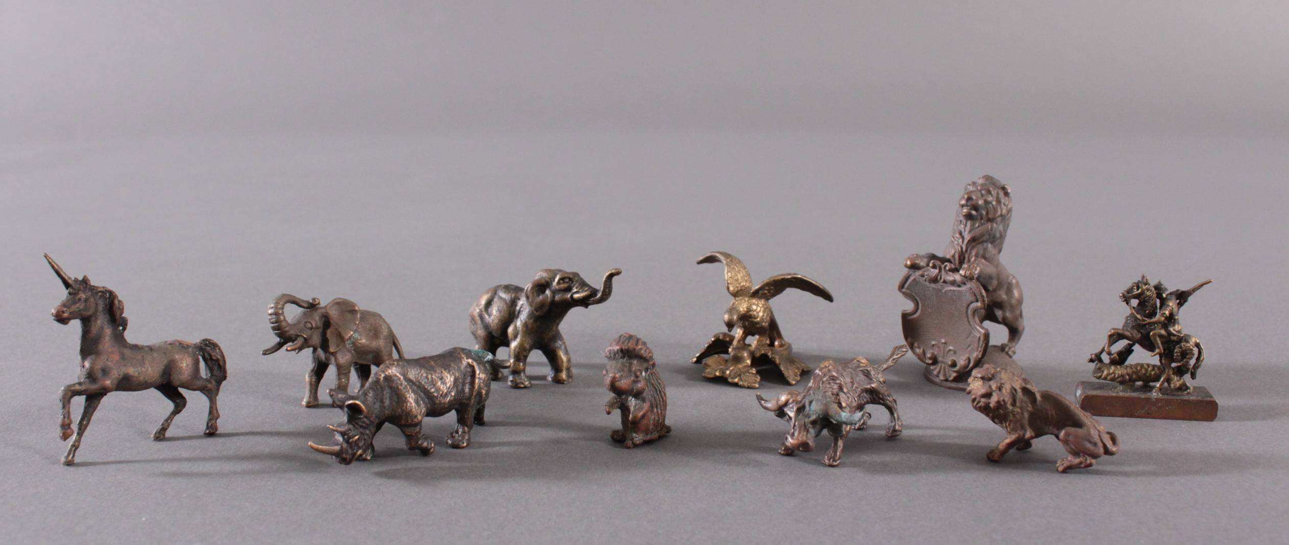 Miniatur Bronzefiguren, 10 Stück
