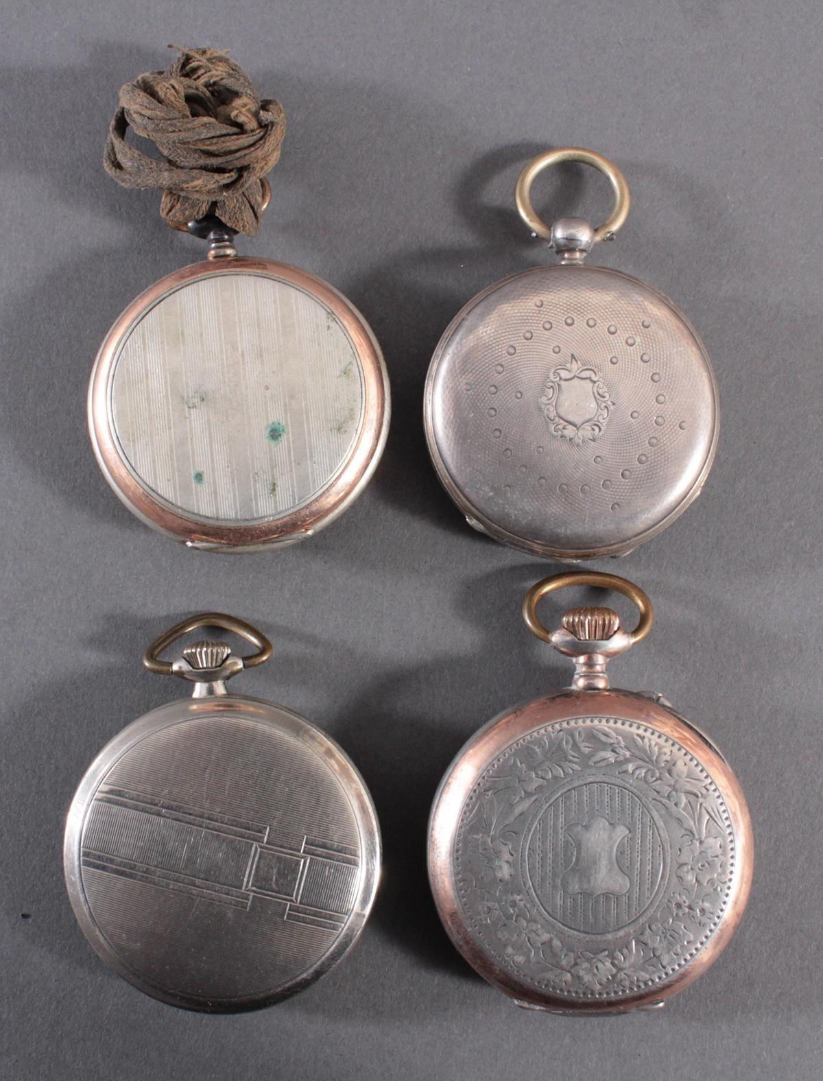 4 Taschenuhren davon 1 aus Silber-4