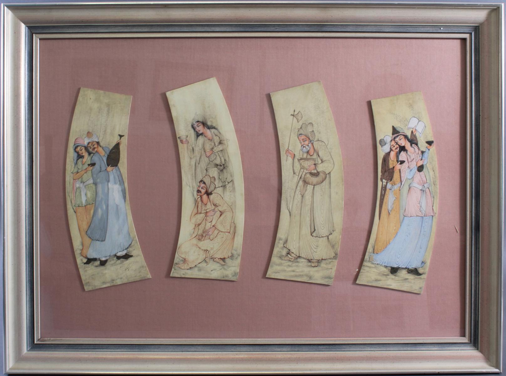 Persische Miniaturmalerei auf Elfenbein 19. Jh.