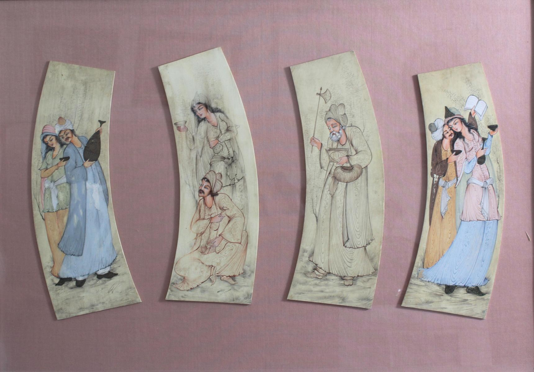 Persische Miniaturmalerei auf Elfenbein 19. Jh.-2