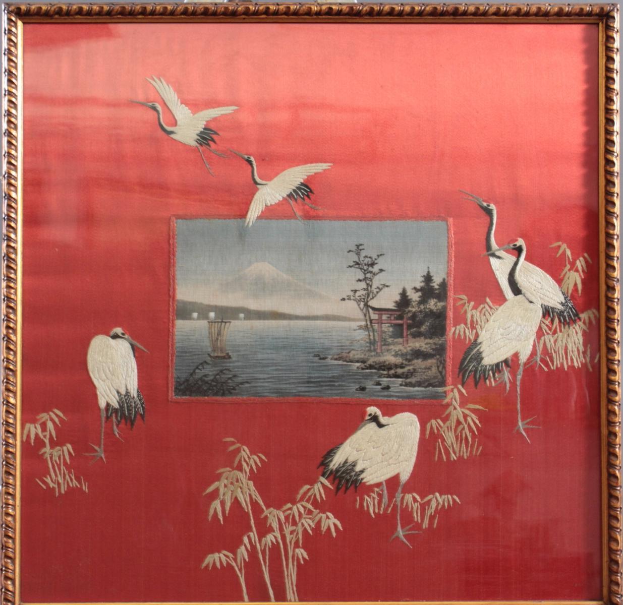 Japanisches Stickbild um 1900