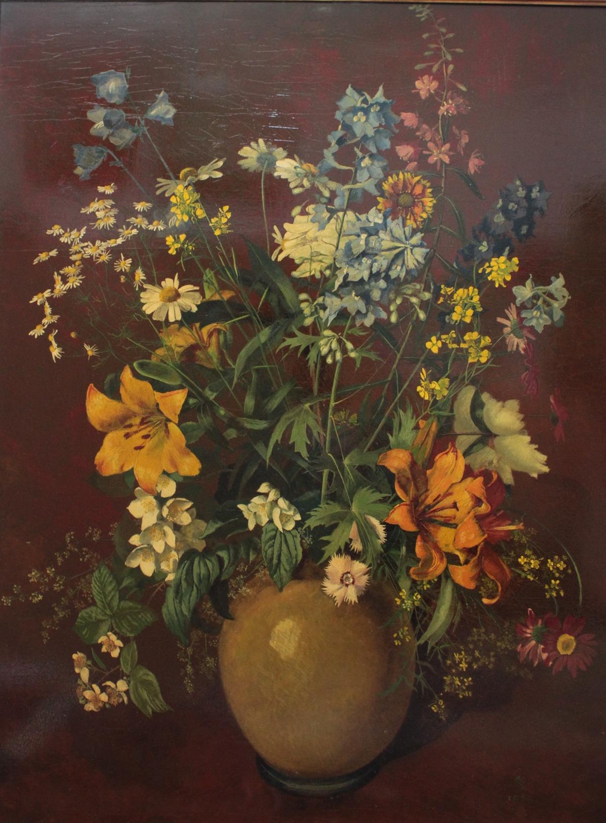 Großes Blumenstilleben von 1939, unbekannter Monogrammist-2