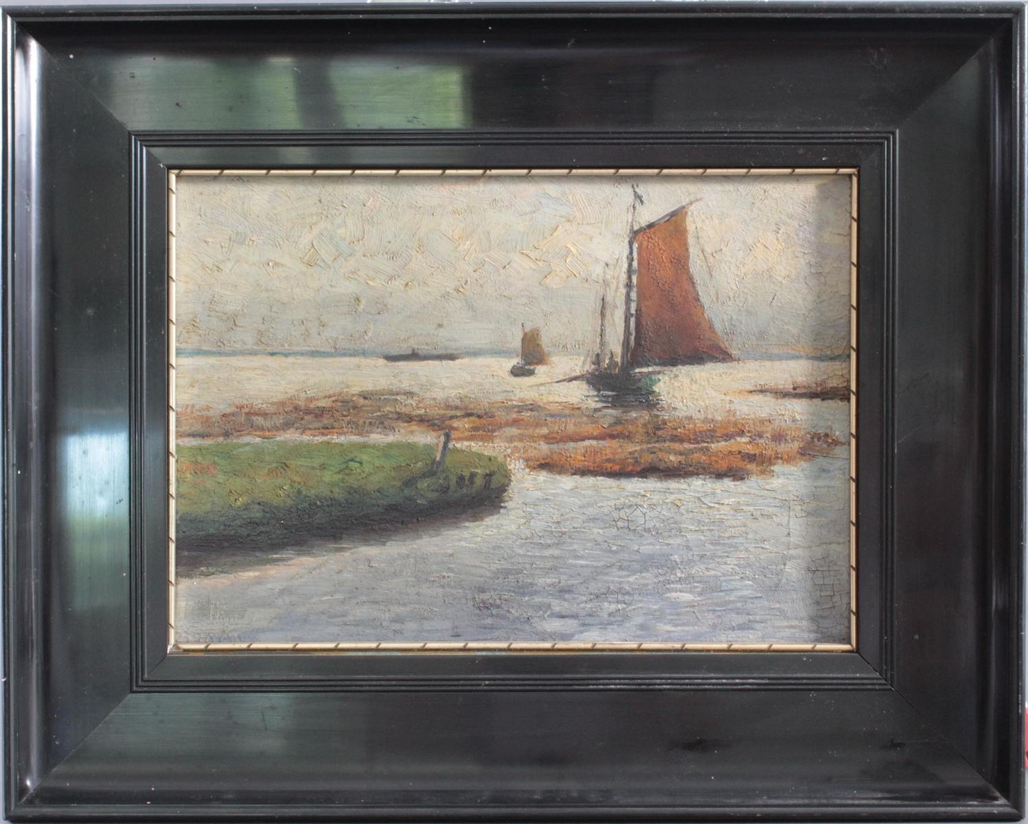 Meereslandschaft mit Segelbooten, unbekannter Künstler