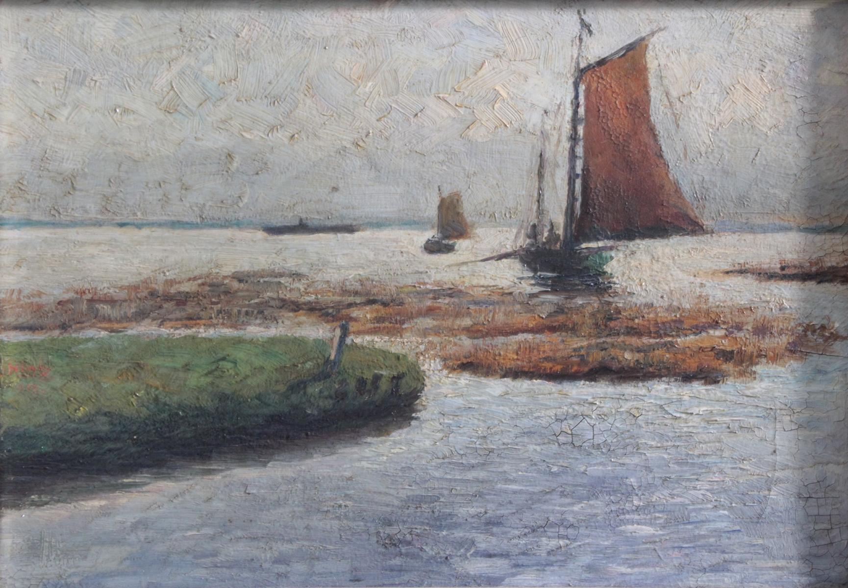 Meereslandschaft mit Segelbooten, unbekannter Künstler-2