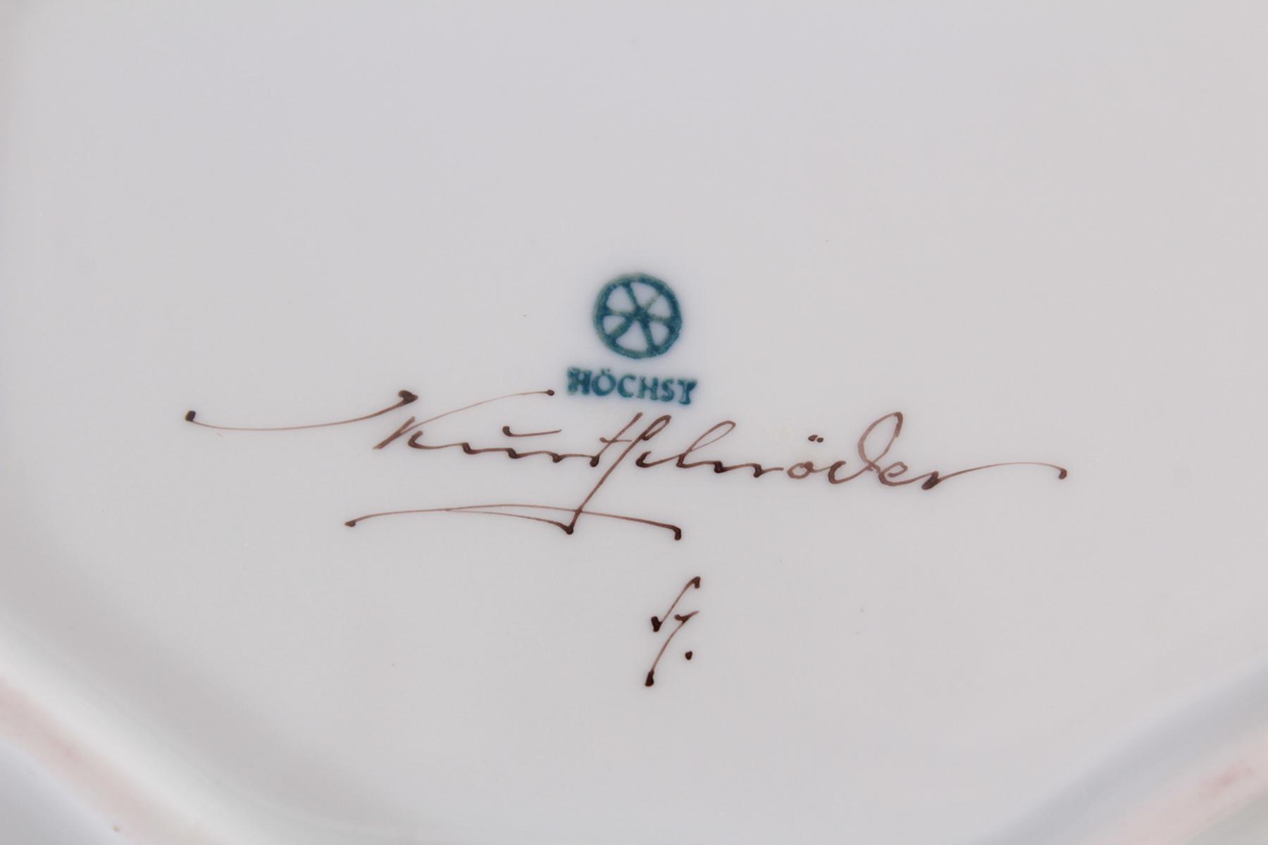 Ovale Anbietschale Hoechst, signiert Kurt Schröder-3