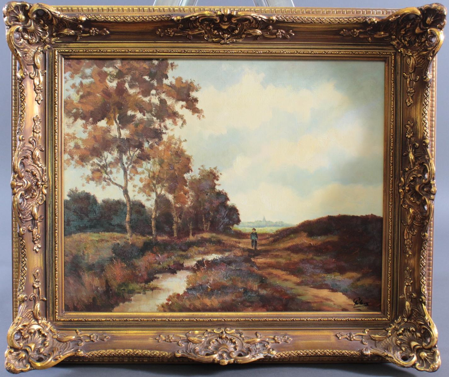 Gemälde, 'Landschaft mit Personenstaffage'