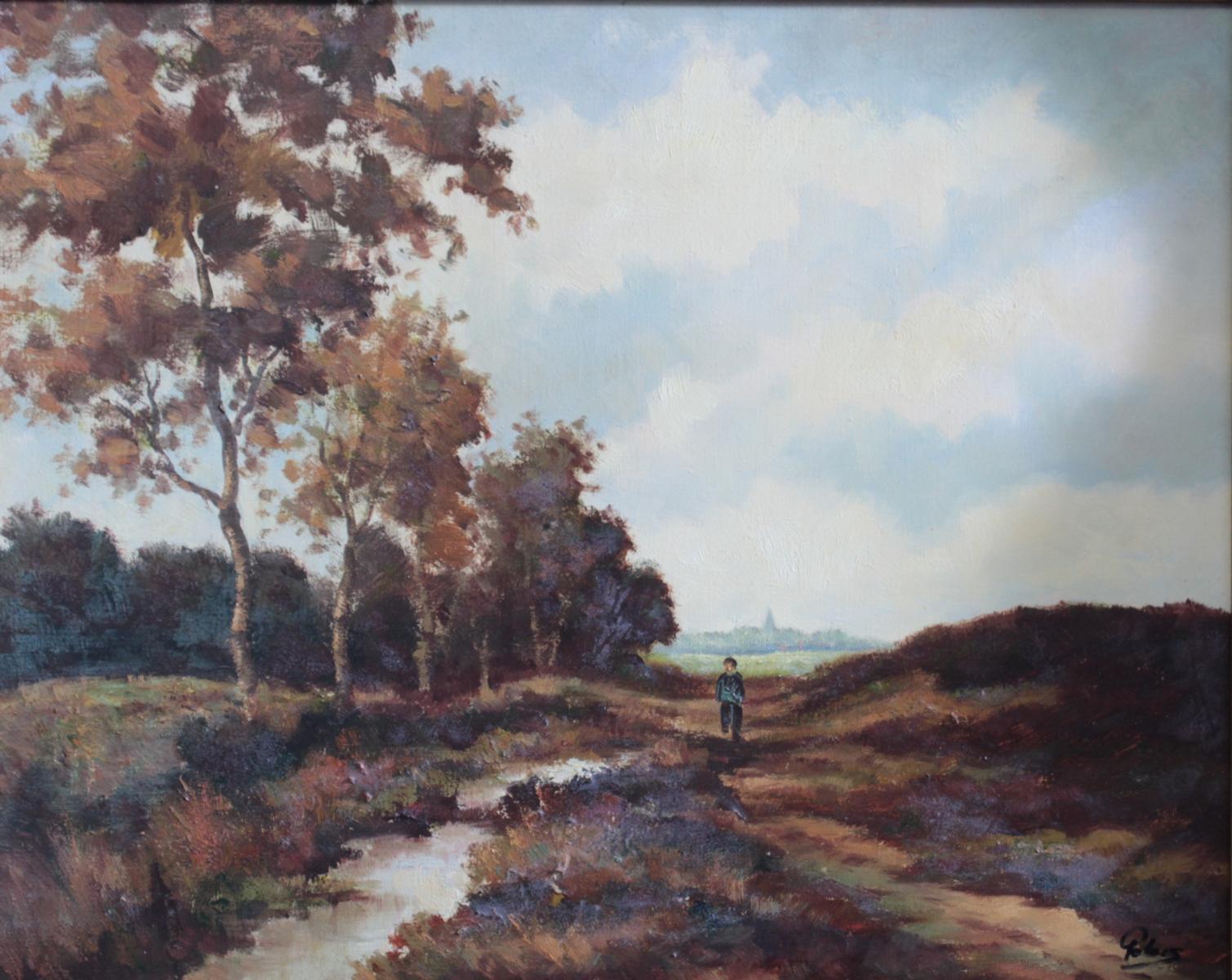Gemälde, 'Landschaft mit Personenstaffage'-2