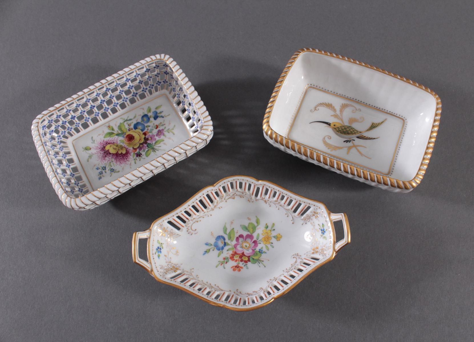 3 kleine Anbietschälchen Höchster Porzellanmanufaktur, signiert Kurt Schröder-2