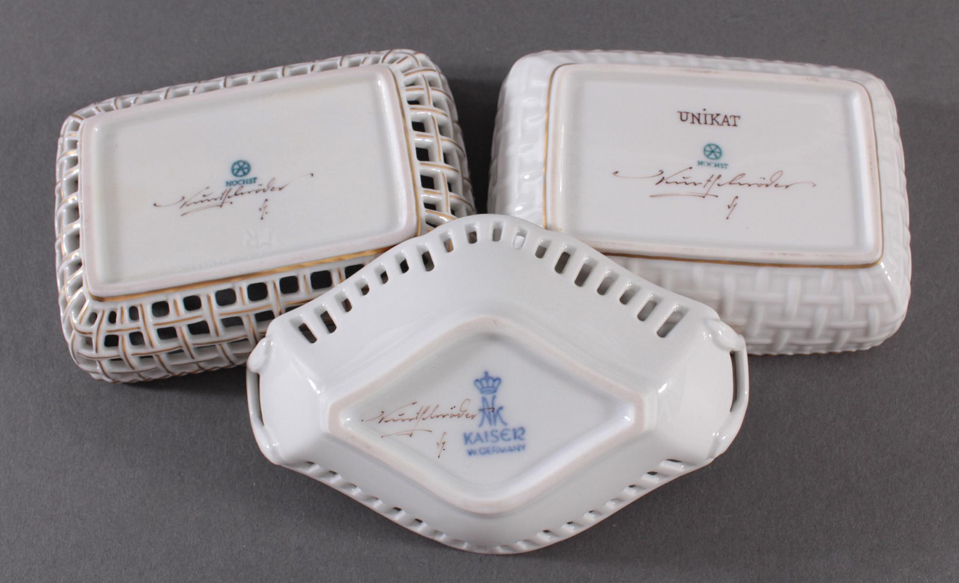 3 kleine Anbietschälchen Höchster Porzellanmanufaktur, signiert Kurt Schröder-3