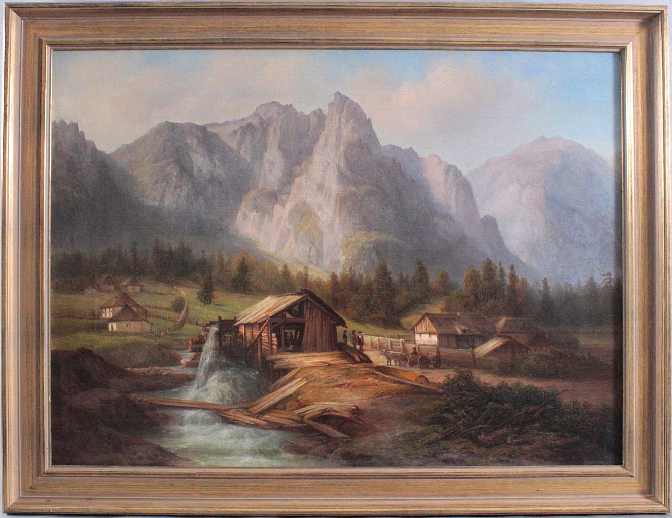 'Berglandschaft mit Häusern und Figurengruppe', 19. Jahrhundert