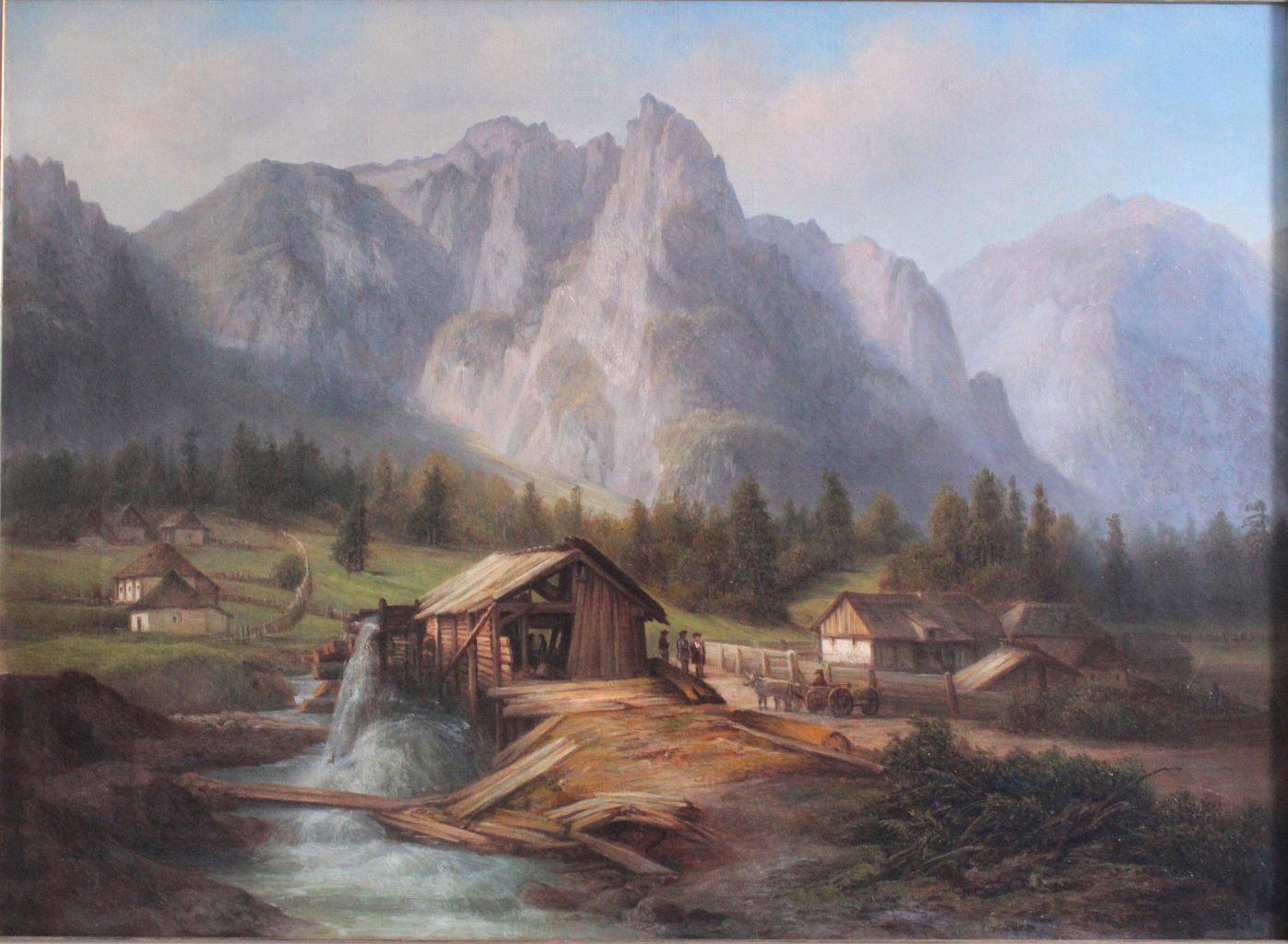 'Berglandschaft mit Häusern und Figurengruppe', 19. Jahrhundert-2