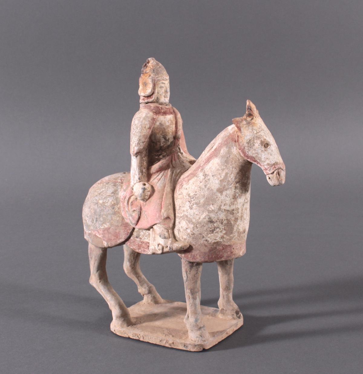China Six-Dynastie, Pferd mit Reiter aus gebranntem Ton-2